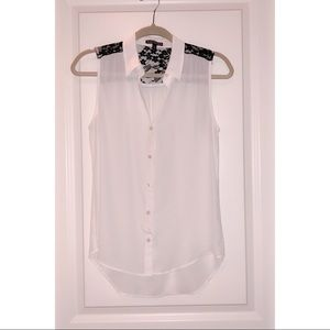 Express White Top With Black Lace